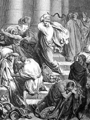 Jesus Radomir casts out the money changers from the Temple